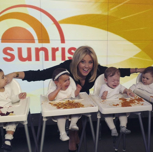 Samantha armytage shares a picture of crying babies on her instagram