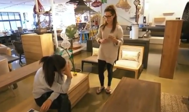 Alisa and Lysandra in a furniture store