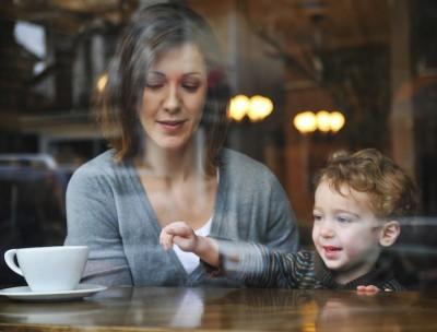 mum son coffee cafe window