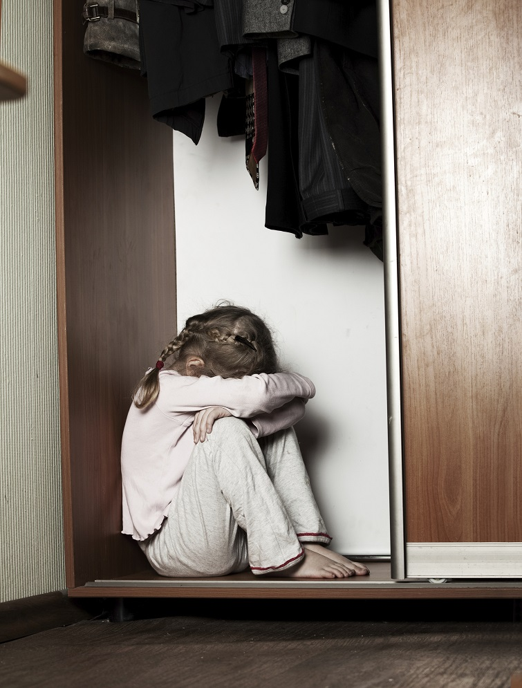 Child hiding in closet...